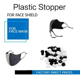 Face Masks Stopper Plastic Cord Stopper Black & White Color Soft PVC